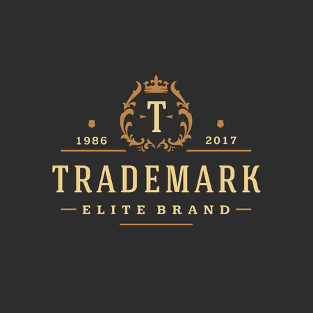 Luxury monogram logo template vector object for logotype or badge design.