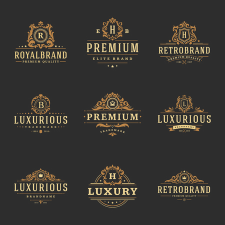 Luxury monograms logos templates vector objects set for logotype or badge Design.