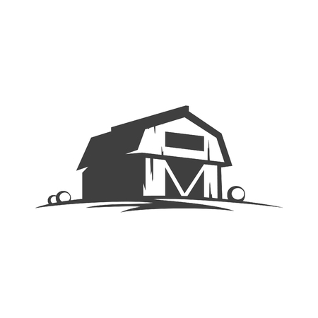 Farm barn silhouette isolated on white background vector object in retro style.