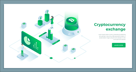 Cryptocurrency exchange and blockchain isometric composition. infographics vector illustration.