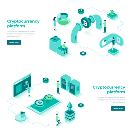 Cryptocurrency exchange and blockchain isometric composition. Good for landing page template and infographics vector illustration. Vector Illustration