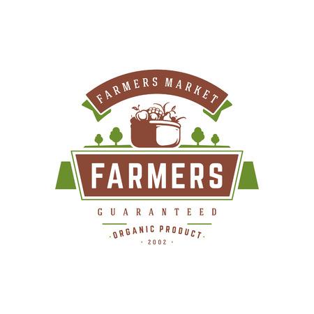 Farmers market logo template vector illustration. Farmer logotype or badge design. Illustration