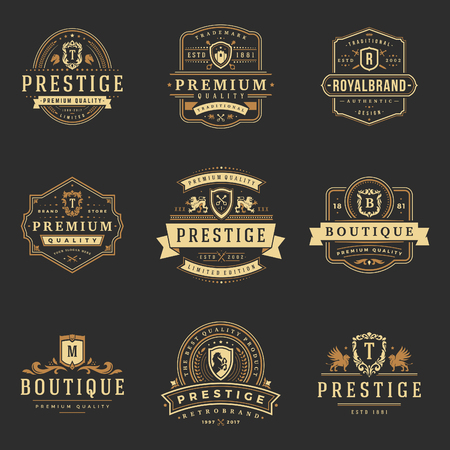 Luxury monograms logos templates vector objects set Logo