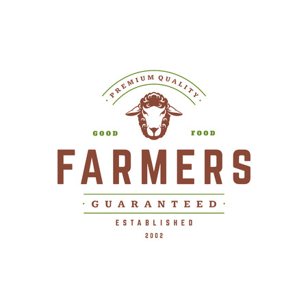 Farmers market logo template vector illustration. Farmer logotype or badge design. Trendy retro style rooster head silhouette.