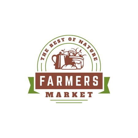 Farmers market logo template vector illustration. Farmer logotype or badge design. Trendy retro style farm natural organic products food silhouette.