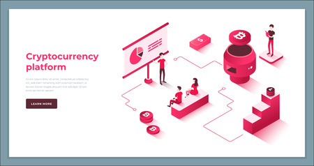 Cryptocurrency exchange and blockchain isometric composition. Good for landing page template and infographics vector illustration.