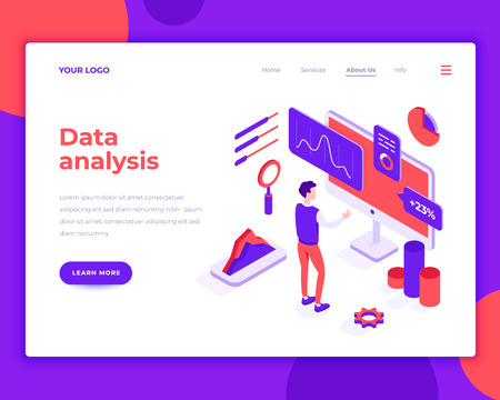 Data analysis people and interact with graphs. Landing page template. 3d isometric vector illustration.