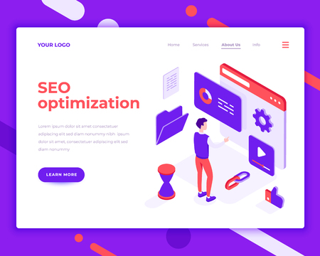 Seo optimization work people and interact with site. Landing page template. 3d isometric vector illustration.