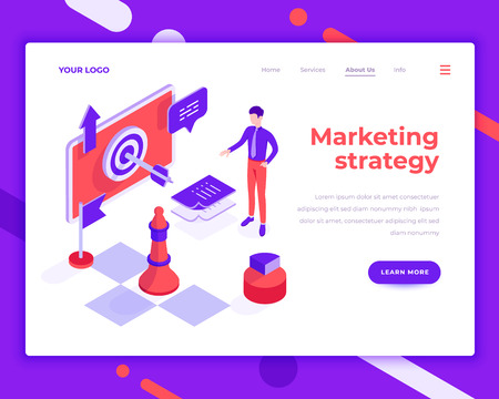 Marketing strategy teamwork people and interact with site. Landing page template. 3d isometric vector illustration.