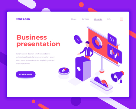 Business presentation people and interact with graphs. Landing page template. 3d isometric vector illustration. Illustration