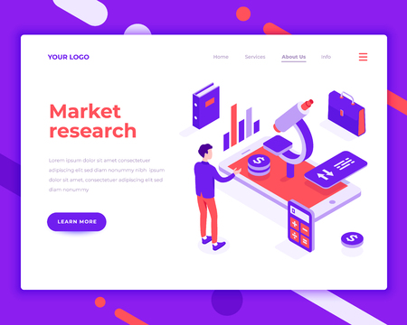 Market research people and interact with graphs. Landing page template. 3d isometric vector illustration.