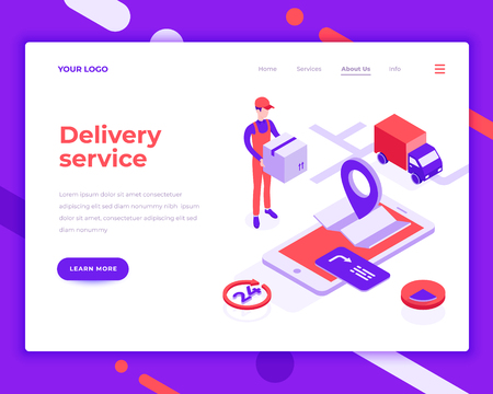 Delivery service people and interact with truck. Landing page template. 3d isometric vector illustration. Illustration