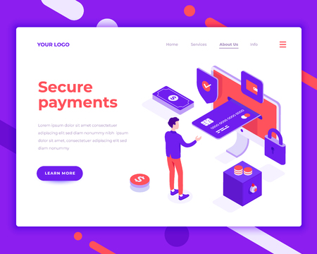 Secure payment people and interact with card. Landing page template. 3d isometric vector illustration.