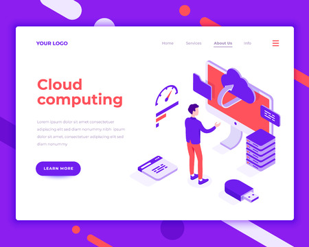 Cloud computing people and interact with screen. Landing page template. 3d isometric vector illustration. Illustration