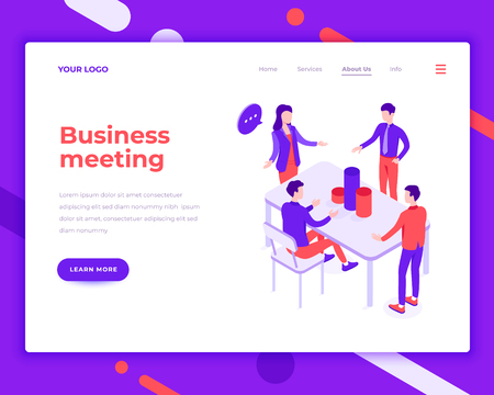 Business meeting people and interact with office. Landing page template. 3d isometric vector illustration.