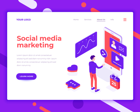 Social media marketing people and interact with graphs. Landing page template. 3d isometric vector illustration. Illustration