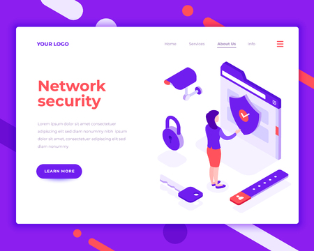 Network security people and interact with folder. Landing page template. 3d isometric vector illustration.