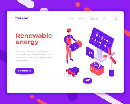 Renewable energy people and interact with solar panel. Landing page template. 3d isometric vector illustration.