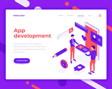App development teamwork people and interact with mobile phone. Landing page template. 3d isometric vector illustration.