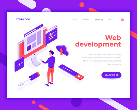 Web development teamwork people and interact with site. Landing page template. 3d isometric vector illustration. Illustration