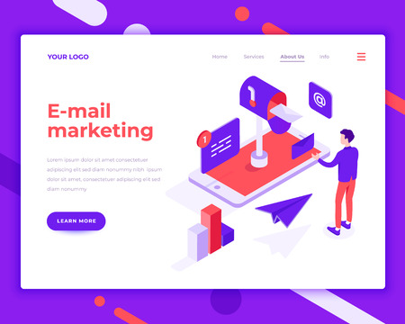 E-mail marketing people and interact with mobile phone. Landing page template. 3d isometric vector illustration.