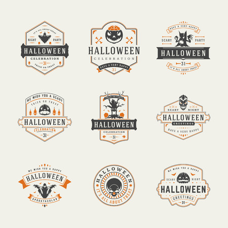 Halloween Celebration logos and badges design set vector illustration. Halloween Typographic Decorations good for greeting card, poster or flyer.