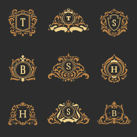 luxury monograms logos templates vector objects set for logotype