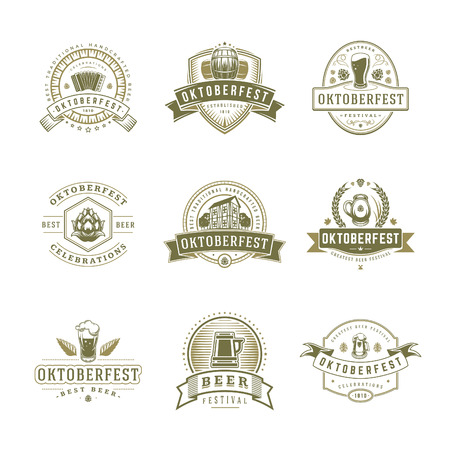 Oktoberfest labels, badges and logos set Beer festival elebrations text. Vector illustration. Good for Posters,Greeting Cards and T-Shirts. Logo
