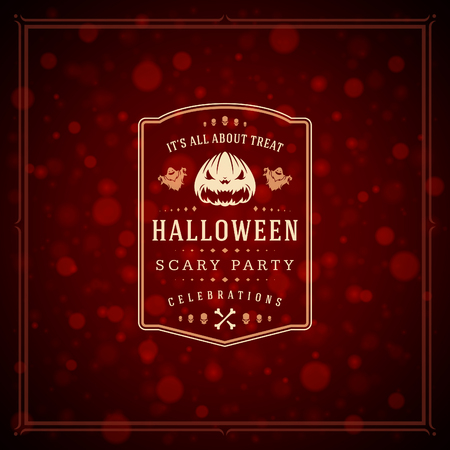 Halloween typographic greeting card design vector background. Celebration label good for poster or flyer.