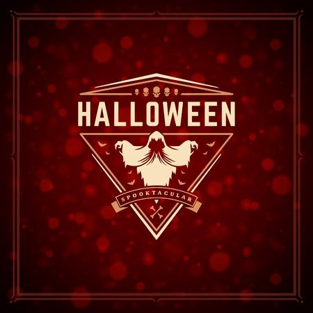 Halloween typographic greeting card design vector background. Celebration label good for poster or flyer. Illustration
