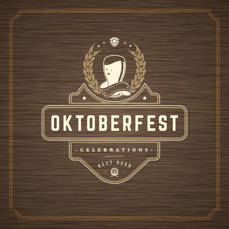 Oktoberfest Greeting card or Flyer on textured background. Beer festival celebration.