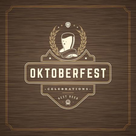 Oktoberfest Greeting card or Flyer on textured background. Beer festival celebration.