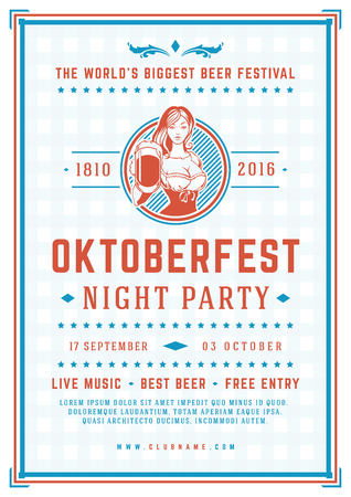 Oktoberfest beer festival celebration poster or flyer template retro typography. Illustration