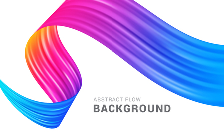 Modern colorful flow abstract background vector illustration. Digital painting liquid colorful bright gradient trendy wave banner template. Vectores