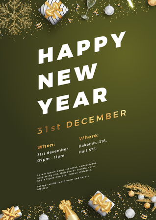Happy new year party layout poster poster or flyer template.