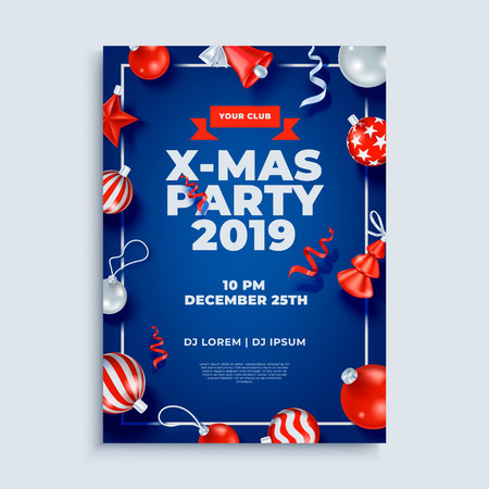 Merry Christmas party layout poster template with design elements.