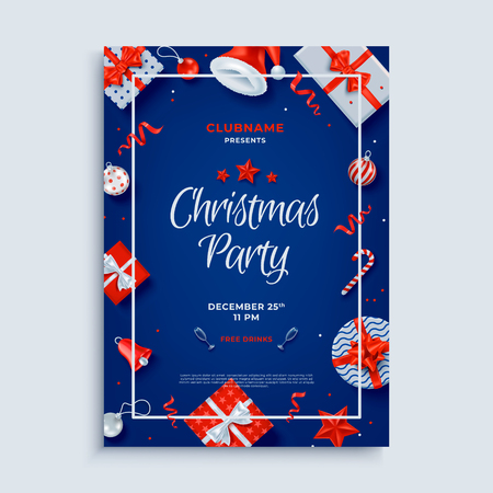Merry Christmas party layout poster poster or flyer template. Christmas holidays invitation with design elements. Vector Illustration. Illustration