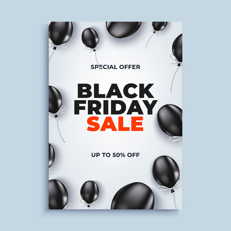 Black friday sale vector banner background with baloons poster or flyer design