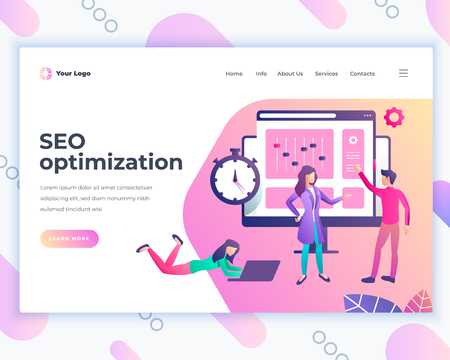 Landing page template seo optimization concept with office people. Modern flat design web page design for website and mobile website. Vector illustration Ilustrace