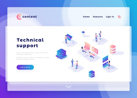 Technical support office people and interact with computers. Landing page template. 3d isometric vector illustration.