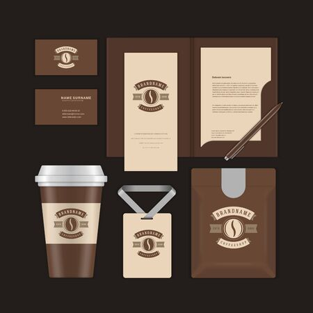 Coffee shop design template and corporate branding identity mock ups.