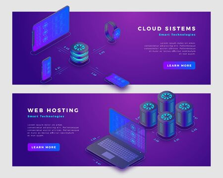 Cloud storage and web hosting concept. Landing page banner template. 3d isometric vector illustration.