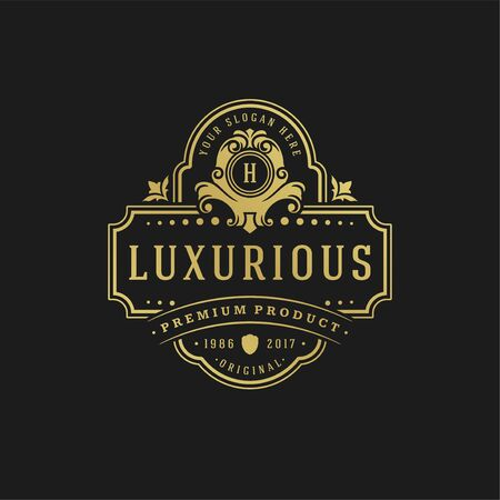 Luxury  design template Victorian vignettes royal ornament shapes for logotype or badge design.