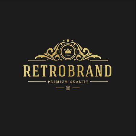 Modèle de conception de luxe Vignettes victoriennes formes d'ornement royal pour la conception de logotype ou de badge.