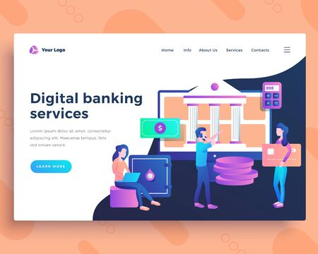 Landing page template digital banking services concept with office people.