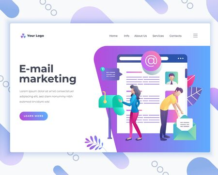 Landing page template e-mail marketing concept with office people characters. Ilustracja