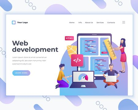 Landing page template web development concept with office people characters. Vetores