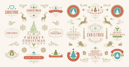 Christmas and happy new year wishes labels and badges set