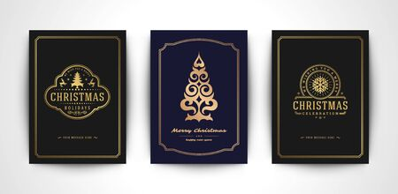 Christmas greeting cards set and ornate typographic winter holidays text Ilustrace