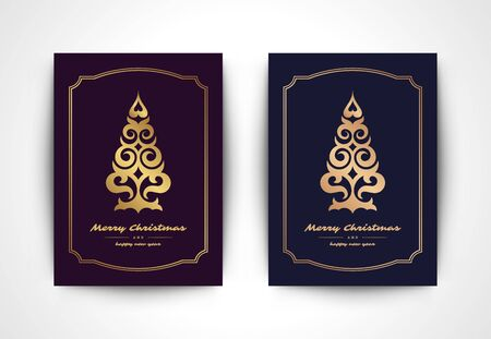 Christmas greeting card with tree silhouette and ornate typographic winter holidays text